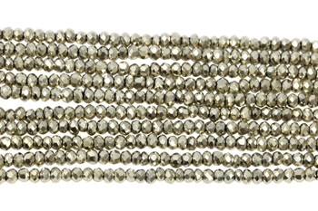 Chinese Crystal Polished 2mm Faceted Rondel - Pyrite