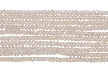 Chinese Crystal Polished 2mm Faceted Rondel - Transparent Light Pink AB