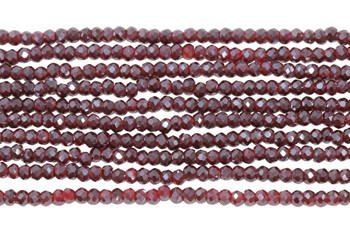 Chinese Crystal Polished 2mm Faceted Rondel - Red Berry