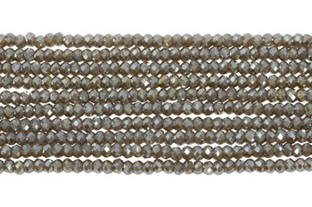 Chinese Crystal Polished 2mm Faceted Rondel - Grey Sparkle