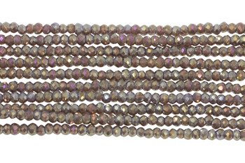 Chinese Crystal Polished 2mm Faceted Rondel - Mauve Iris