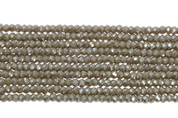 Chinese Crystal Polished 2mm Faceted Rondel - Warm Grey Sparkle