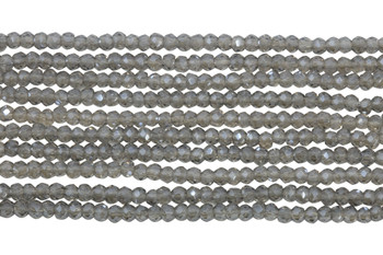 Chinese Crystal Polished 2mm Faceted Rondel - Transparent Cool Grey