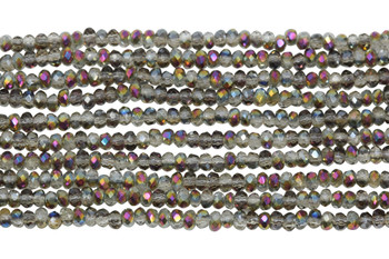 Chinese Crystal Polished 2mm Faceted Rondel - Grey Iris