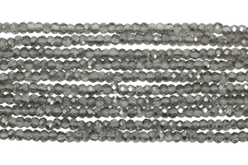 Chinese Crystal Polished 2mm Faceted Rondel - Grey Crystal