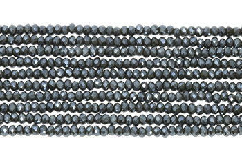 Chinese Crystal Polished 2mm Faceted Rondel - Midnight Blue