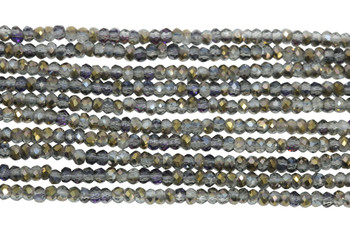 Chinese Crystal Polished 2mm Faceted Rondel - Gold/Grey Crystal