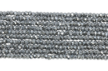 Chinese Crystal Polished 2mm Faceted Rondel - Platinum