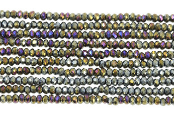 Chinese Crystal Polished 2mm Faceted Rondel - Gold/Blue Iris