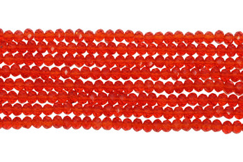Chinese Crystal Polished 4mm Faceted Rondel - Transparent Red