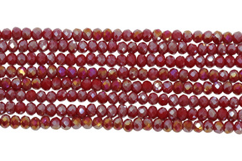 Chinese Crystal Polished 4mm Faceted Rondel - Red Iris