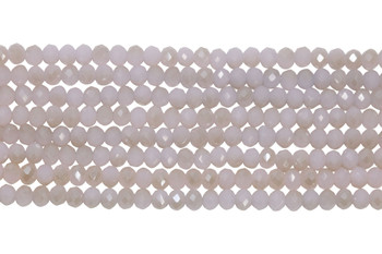 Chinese Crystal Polished 4mm Faceted Rondel - Light Pink Lace