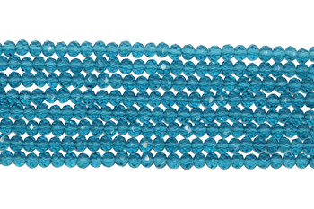 Chinese Crystal Polished 4mm Faceted Rondel - Transparent Cerulean Blue