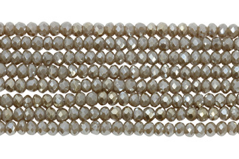 Chinese Crystal Polished 4mm Faceted Rondel - Clay
