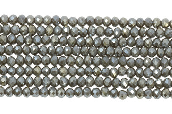 Chinese Crystal Polished 4mm Faceted Rondel - Grey Pewter