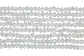 Glass Crystal Polished 3x4mm Faceted Rondel - Transparent Crystal AB