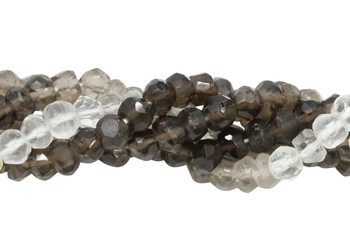 Smoky Quartz and Crystal Polished 4mm Faceted Rondel