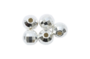 Sterling Silver Polished 7mm Mirror Beads - 5 Pieces