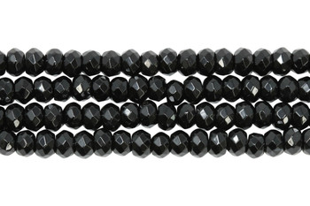 Black Onyx Polished 4x6mm Faceted Rondel