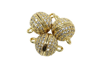 Gold 8mm Micro Pave Round Magnetic Clasp