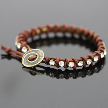 Leather Tennis Bracelet Kit - Natural Brown