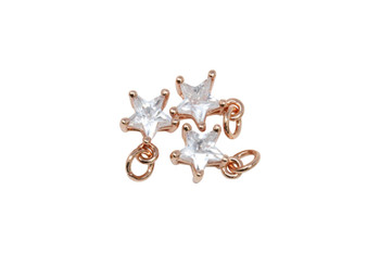 Rose Gold 8mm CZ Star Micro Pave Charm