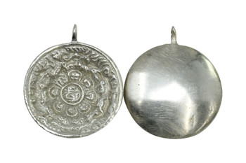 Silver Plated Brass 33mm Mayan Calendar Concave Pendant