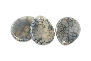 Cracked Black Agate Polished 36x42mm Irregular Drop
