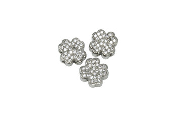 Silver Shamrock 10mm Micro Pave 3 Hole Bead