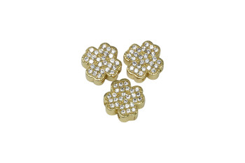 Gold Shamrock 10mm Micro Pave 3 Hole Bead