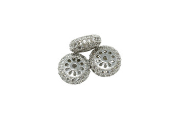 Silver 10x5mm Micro Pave Rondel Bead