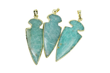 Amazonite 15x45mm Gold Framed Arrowhead Pendant