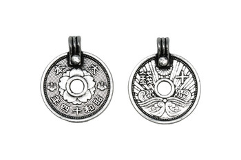 Asian Coin Charm - Antique Pewter