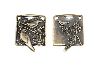 Botanical Birds Pendant - Antique Brass