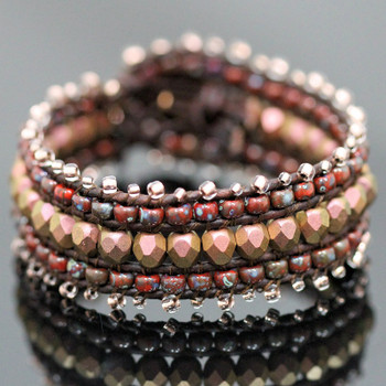 Leather Wrap Cuff Bracelet Kit - Red Copper