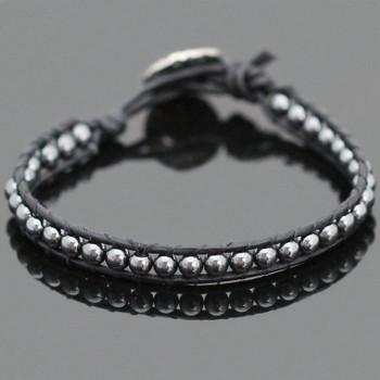 Hematite Single Leather Wrap Bracelet Kit