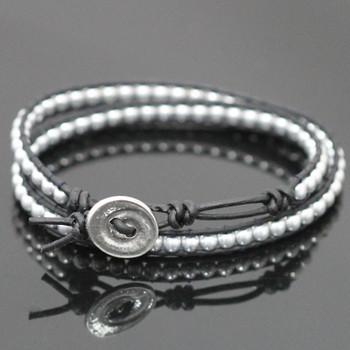 Black & Silver Double Leather Wrap Bracelet Kit