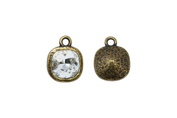 Hammered Cushion Drop with Swarovski - Brass Plated