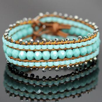 Leather Wrap Cuff Bracelet Kit - Chalcedony
