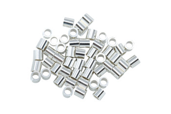 Sterling Silver 2x2mm Crimps - 50 Pieces