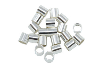 Sterling Silver 3x3mm Crimps - 20 Pieces