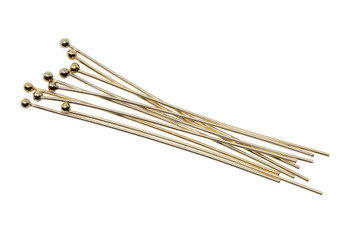 "Gold Filled 1.5"" Long 24 Gauge Ball End Head Pins - 10 Pieces"