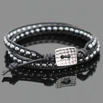 Hematite Double Leather Wrap Bracelet Kit