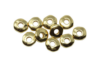Gold Plated 7mm Nugget 2mm Hole Bead - 10 Pieces