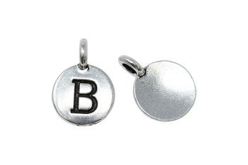 B Alphabet Charm - Silver Plated