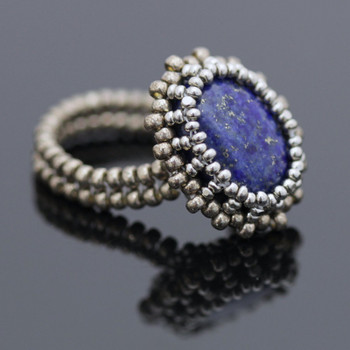 Bezeled Beaded Ring Kit - Lapis Lazuli
