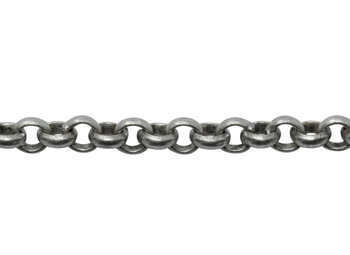 Antique Silver 2mm Rolo Chain - Sold By 6 Inches