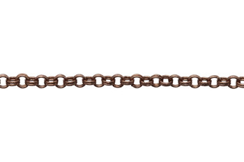 Antique Copper 1.8mm Petite Double Rolo Chain - Sold By 6 Inches