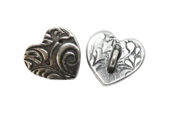 Amor Heart Button - Antique Pewter