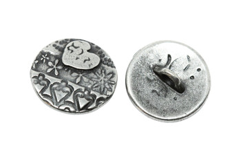 Amor Round Button - Antique Pewter